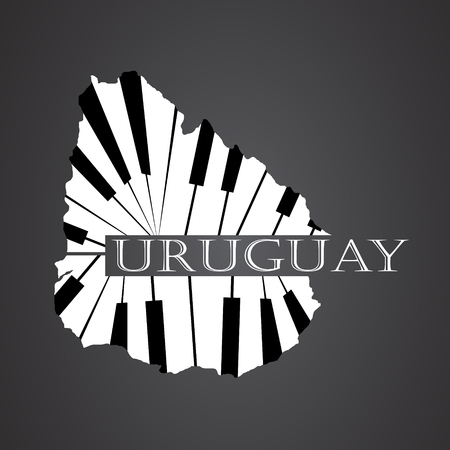 uruguay map made from piano Illustration