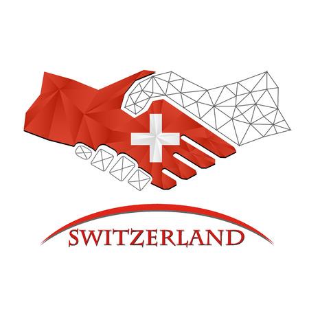 Handshake logo made from the flag of Switzerland.