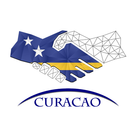 Handshake logo made from the flag of Curacao.