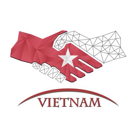 Handshake logo made from the flag of Vietnam Illustration
