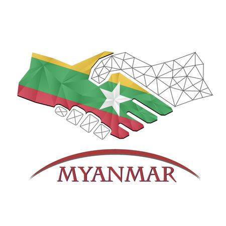 Handshake logo made from the flag of Myanmar