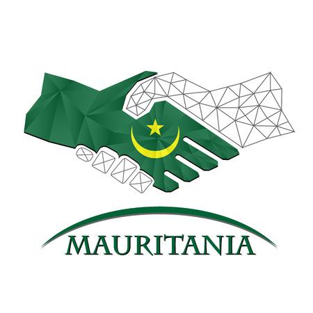 Handshake logo made from the flag of Mauritania.