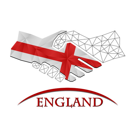Handshake logo made from the flag of England.