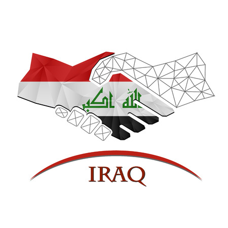 Handshake logo made from the flag of Iraq. Vectores