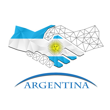 Handshake logo made from the flag of Argentina.