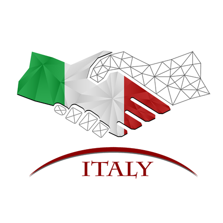 Handshake logo made from the flag of Italy. Logó