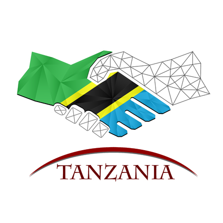 Handshake logo made from the flag of Tanzania.