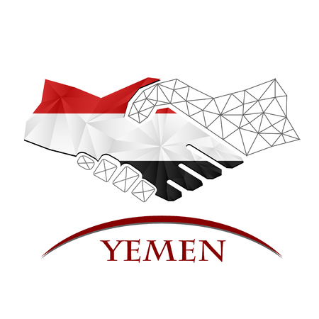 Handshake logo made from the flag of Yemen.