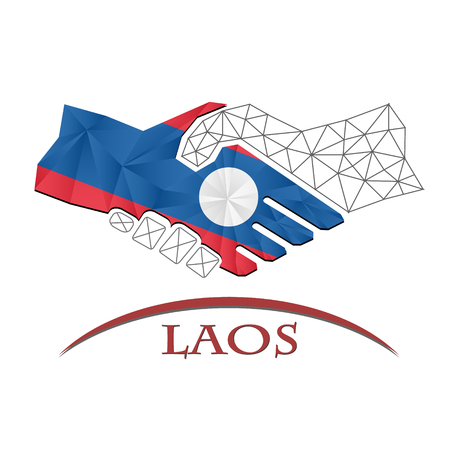 conciliation: Handshake logo made from the flag of Laos Illustration