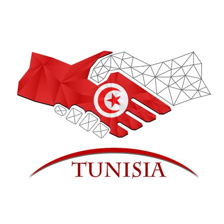 Handshake logo made from the flag of Tunisia.