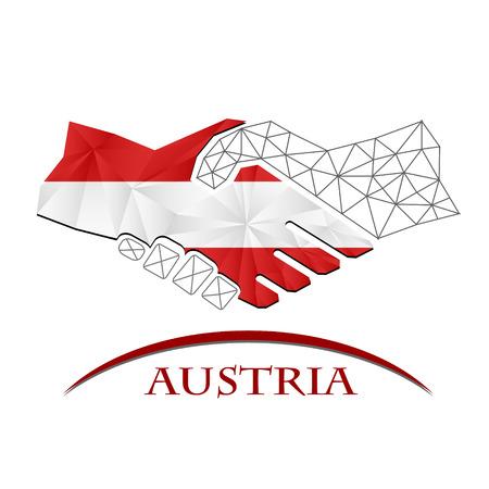 Handshake logo made from the flag of Austria.