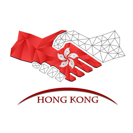 Handshake logo made from the flag of Hong Kong Illustration