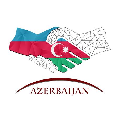 Handshake logo made from the flag of Azerbaijan. Logó