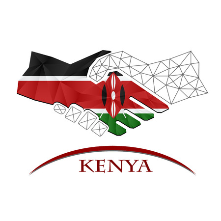 Handshake logo made from the flag of Kenya.
