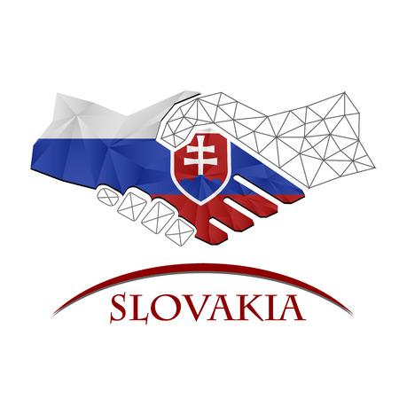 Handshake logo made from the flag of Slovakia.