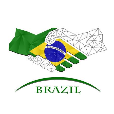 Handshake logo made from the flag of brazil.