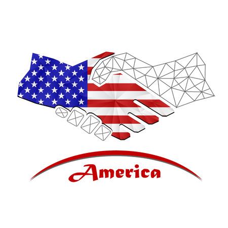 banderas america: Handshake logo made from the flag of american.