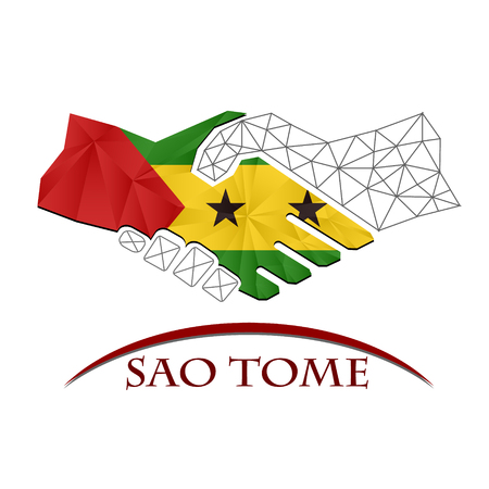 Handshake logo made from the flag of Sao Tome.