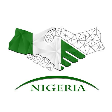 Handshake logo made from the flag of Nigeria.