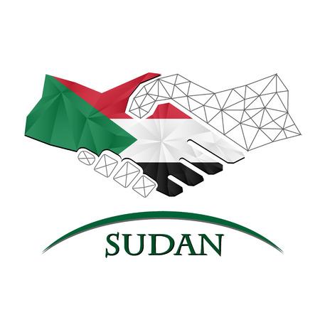 Handshake logo made from the flag of Sudan. Illustration
