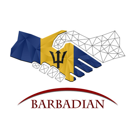 Handshake logo made from the flag of Barbados.