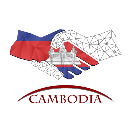 Handshake logo made from the flag of Cambodia.