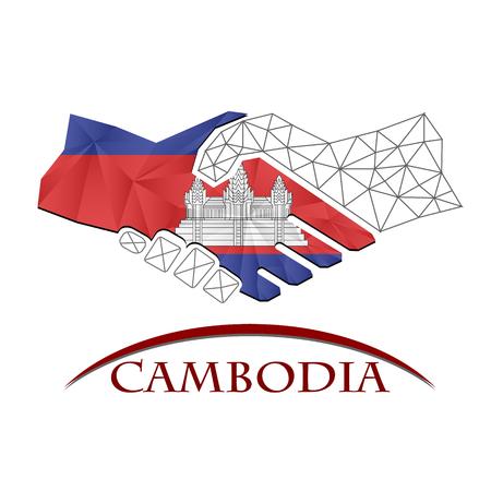 Handshake logo made from the flag of Cambodia. Illustration