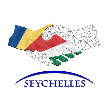 Handshake logo made from the flag of Seychelles.