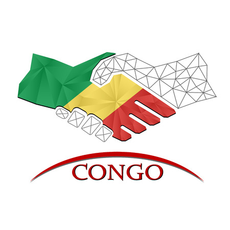 Handshake logo made from the flag of Congo. Illustration