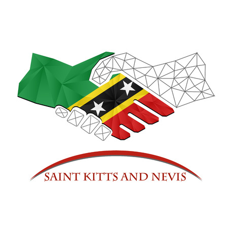 Handshake logo made from the flag of Saint Kitts and Nevis. Illustration
