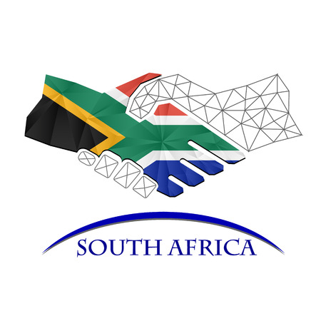 Handshake logo made from the flag of South Africa.