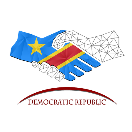 democratic: Handshake logo made from the flag of Democratic Republic. Illustration