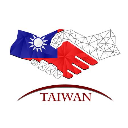 Handshake logo made from the flag of Taiwan. Logó