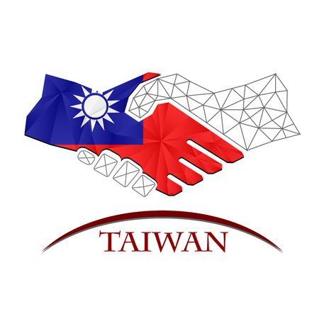 Handshake logo made from the flag of Taiwan.