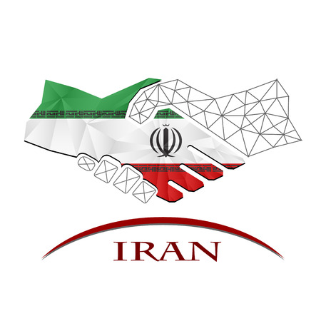 Handshake logo made from the flag of Iran.