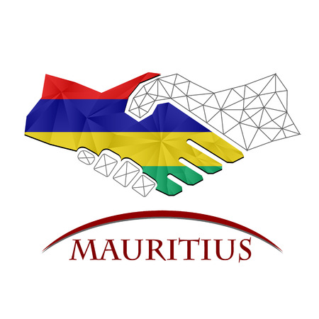 Handshake logo made from the flag of Mauritius.