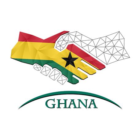 Handshake logo made from the flag of Ghana.