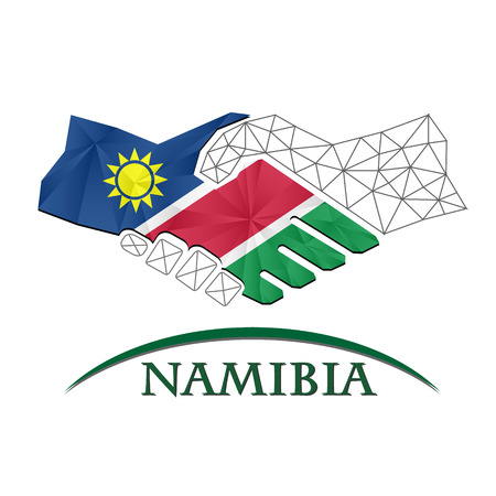 Handshake logo made from the flag of Namibia.