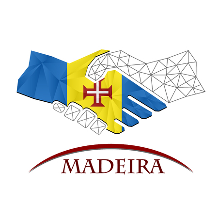Handshake logo made from the flag of Madeira.