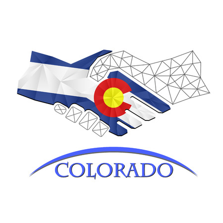 Handshake logo made from the flag of Colorado. Illustration