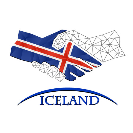 Handshake logo made from the flag of Iceland