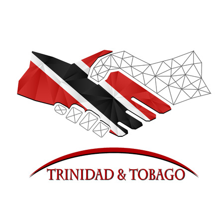 trinidadian: Handshake logo made from the flag of Trinidad and Tobago.