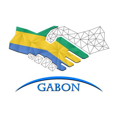 Handshake logo made from the flag of Gabon. Illustration