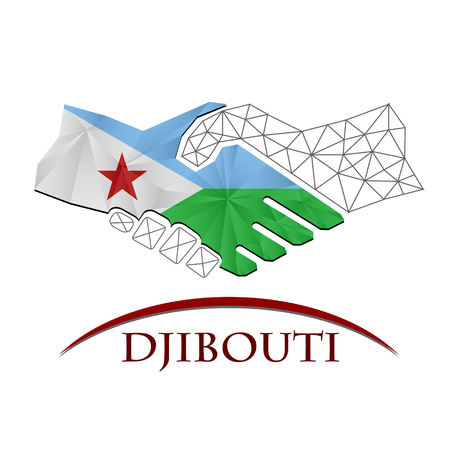 Handshake logo made from the flag of Djibouti.