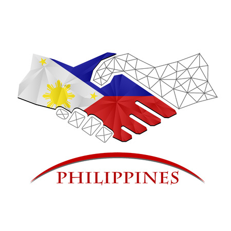 Handshake logo made from the flag of Philippines.