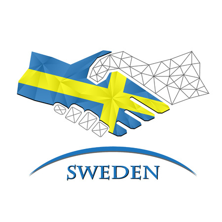 Handshake logo made from the flag of Sweden.