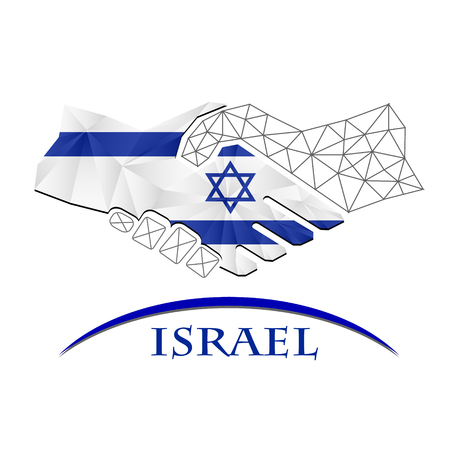 trade union: Handshake logo made from the flag of Israel.