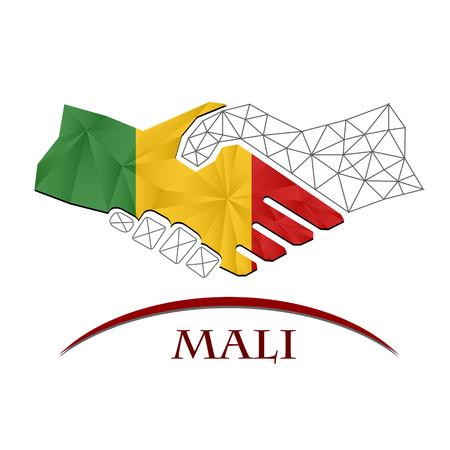 Handshake logo made from the flag of Mali. Illustration