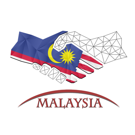 Handshake logo made from the flag of Malaysia.