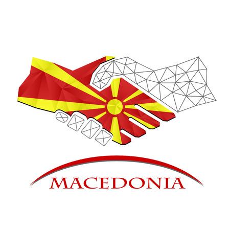 Handshake logo made from the flag of Macedonia.